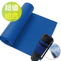 VOSUN -NBR專業級直條雙面壓紋環保 - 瑜珈墊 -寵愛組(直角/10mm)_天青藍