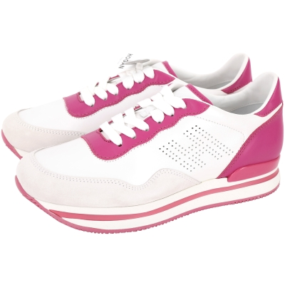 HOGAN H222 H LOGO穿孔拼色麂皮厚底繫帶休閒鞋(桃x白)