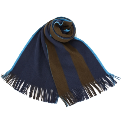 Paul Smith 雙色直條紋棉質圍巾-藍/咖啡