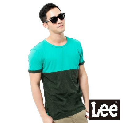 Lee-短袖T恤-寬版色塊拼接-男款-綠-黑灰