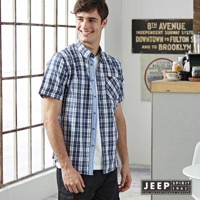 JEEP 經典美式撞色短袖格紋襯衫(藍色)