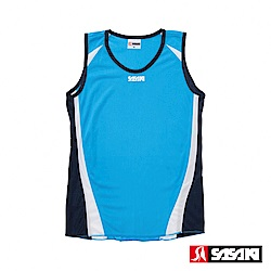 SASAKI 吸濕排汗田徑背心-女-鮮藍/白/丈青