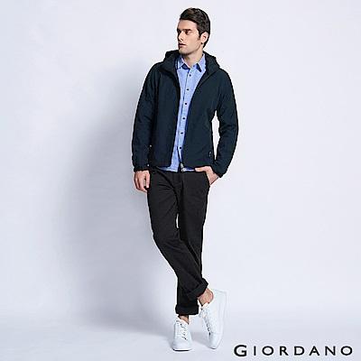 GIORDANO 男裝基本款休閒長褲-09 標誌黑