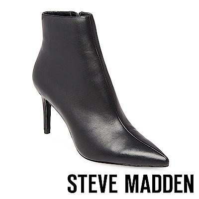 STEVE MADDEN-LOGIC 尖頭細跟拉鍊短靴-黑色