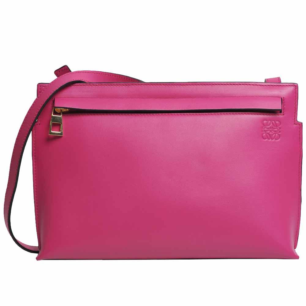 LOEWE T Pouch Bag 小牛皮品牌LOGO斜背/側背包(桃紅色)
