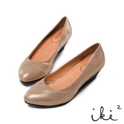 iki2優雅典藏-高質感真皮尖頭楔型鞋-迷霧金