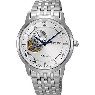 SEIKO Presage 24小時顯示開芯機械錶(SSA267J1)-銀/39mm