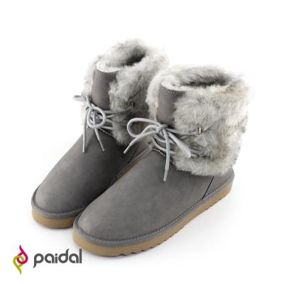 Paidal雪兔毛絨假綁帶短筒雪靴-百搭灰