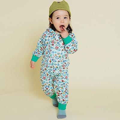 Baby unicorn 綠色碎花連帽長袖連身衣