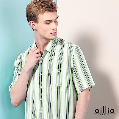 歐洲貴族oillio 短袖襯衫 直條紋款 紳士口袋 綠色