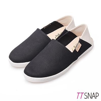 TTSNAP懶人鞋-MIT兩穿2WAY帆布真皮休閒鞋 黑