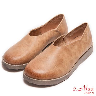 2.Maa-真皮復古素面寬頭厚底包鞋-棕