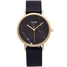 CLUSE 時尚BLACK大理石紋皮革手錶(CL40004)-黑面X金色框/38mm