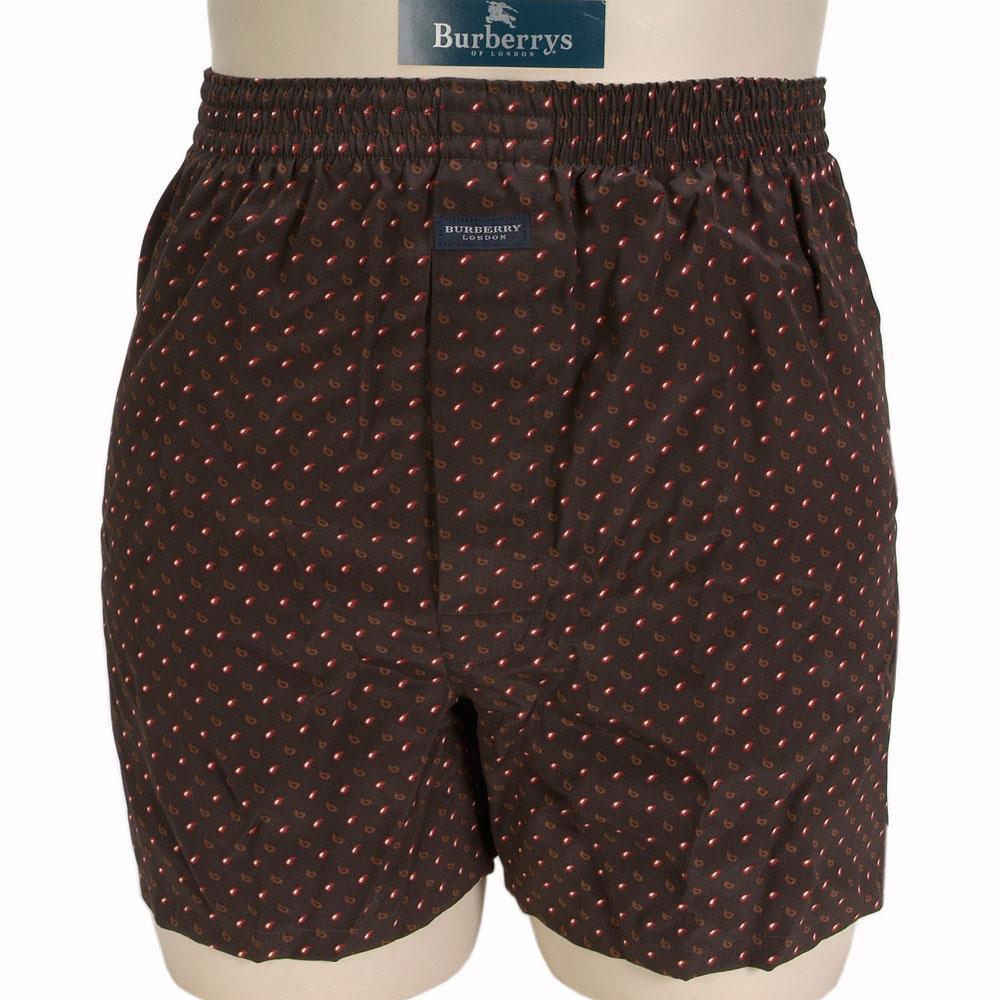 BURBERRY BOXER水滴點點絹質四角內褲-咖啡/紅