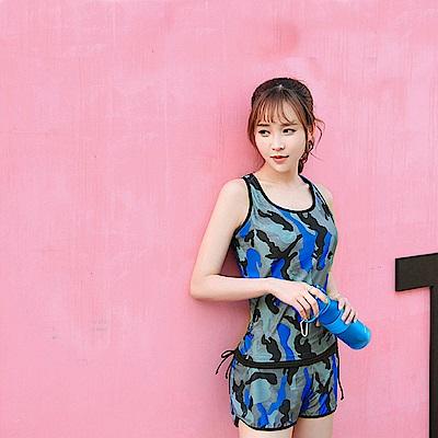 Biki比基尼妮泳衣   迷彩藍運動泳衣加大泳衣(M- 3 XL)
