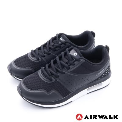 AIRWALK(男) - 抛物線 減壓彈力氣墊緩衝運動鞋 -弧線黑