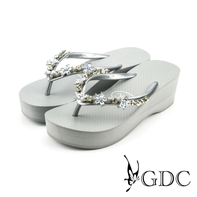 GDC-可愛小花水鑽楔型厚底夾腳人字拖鞋-灰色