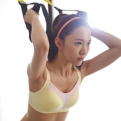 蕾黛絲-動氧Bra 高脊心無鋼圈 C罩杯運動內衣(輕蜜黃)