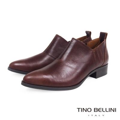 Tino-Bellini-義大利摩登雅痞女郎低跟皮鞋-咖