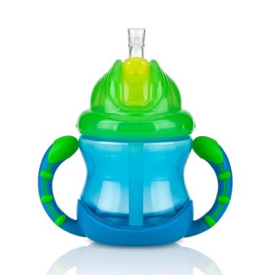 Nuby 雙耳防漏彈跳吸管水杯240ml-藍綠(12m+)