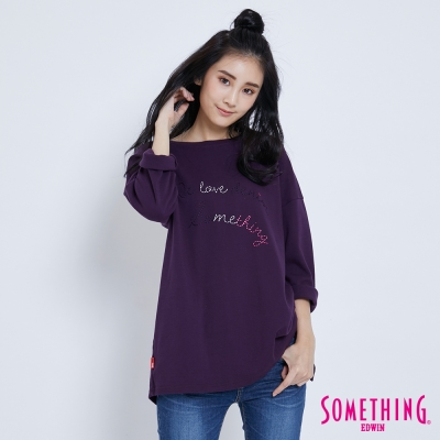 SOMETHING 三色標語開衩長版T恤-女-紫色