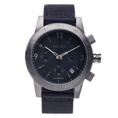 ELECTRIC FW02系列-復古強悍三眼計時腕錶-黑x鐵灰x黑帆布帶/44mm