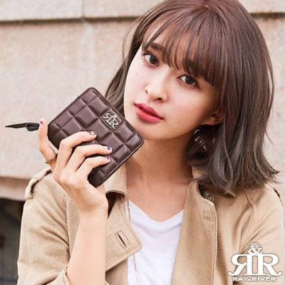 2R-甜心巧克力Sweet立體格紋羊皮短夾-酒漾紅