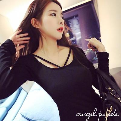 超強設計美胸V吊帶修身韓妞私服T恤氣質性感上衣(黑)-天使波堤