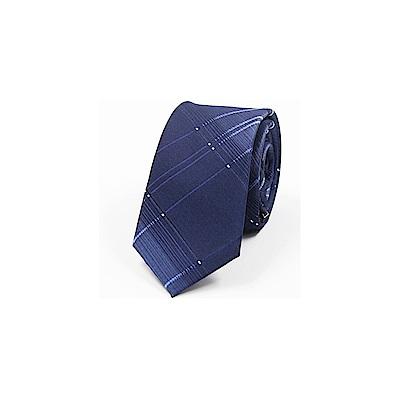拉福  領帶6cm中窄版領帶手打領帶(漸格子藍)