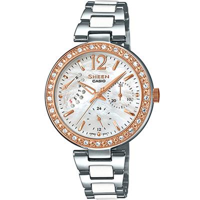 SHEEN 光彩耀眼奪目時尚晶鑽錶(SHE-3042SG-7A)-銀x金/32mm