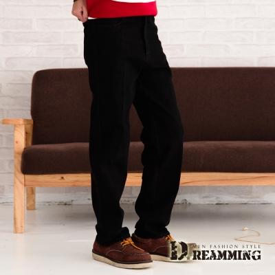 Dreamming 經典原色厚磅伸縮中直筒牛仔褲-黑色