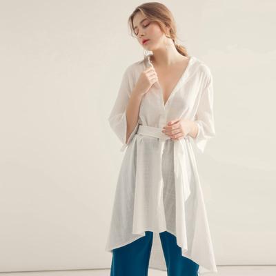 AIR SPACE 簡約長版綁帶襯衫洋裝(白)