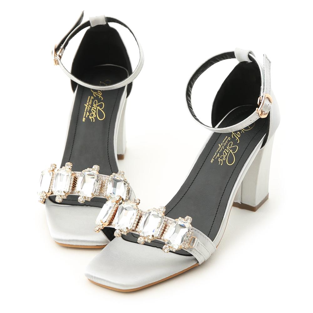 D+AF 奢鑽名媛.華麗寶石鑽飾高跟涼鞋*銀