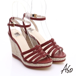 A.S.O 完美涼夏 真皮手工編織楔型涼鞋 紅色