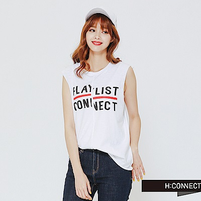 H:CONNECT 韓國品牌女裝-PLAY LIST字母棉質背心-白