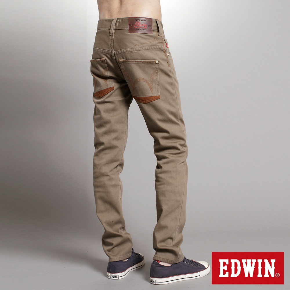 【EDWIN】映像圖騰 B.T W.F窄直筒保溫褲-男款(褐色)