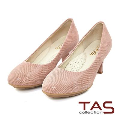 TAS-素面質感羊皮圓頭高跟鞋-優雅粉