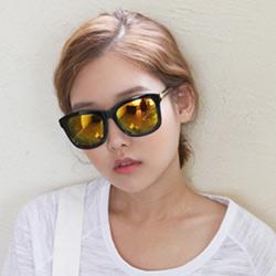 梨花HaNA  來自星星的你強打韓星金色箭頭太陽眼鏡-反光金水銀鏡片