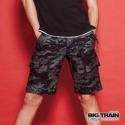 BIG TRAIN 黑亂紋迷彩仿丹寧短褲-男-黑色