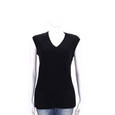 Max Mara 黑色羊毛無袖粗針織上衣(80%WOOL)