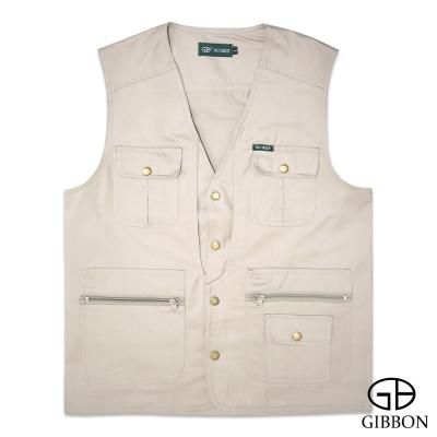 GIBBON 經典樂活素色多口袋背心‧卡其L~4L
