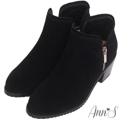 Ann'S個性出眾-雙側銀拉鍊粗跟短靴-黑