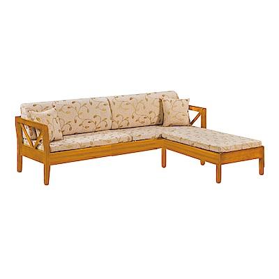 品家居 維斯其亞麻布實木L型沙發(四人+凳)-242x188x85-免組 @ Y!購物