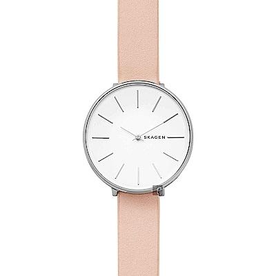 Skagen Signature 北歐雅典甜蜜女錶-白x粉色錶帶/38mm
