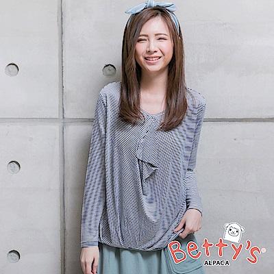 betty's貝蒂思 條紋剪裁上衣(深藍)