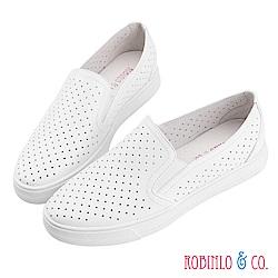 Robinlo & Co. 百搭沖孔造型真皮休閒平底鞋 白色