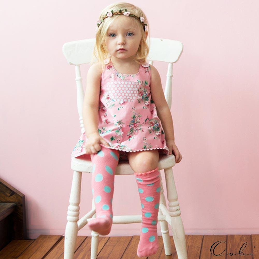 Oobi 粉紅碎花點點雙面兩穿式背心洋裝兩件組