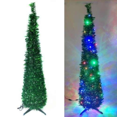 6尺(180cm)彈簧摺疊綠色哈利葉瘦型鉛筆樹聖誕樹(+LED100燈四彩光)