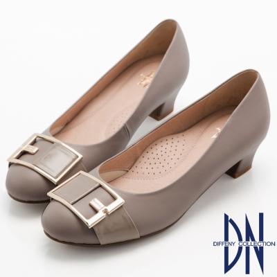 DN-典雅名媛-氣質Fashion飾扣低跟鞋-藕紫