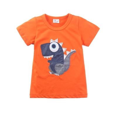 歐美風格設計 小童中童男童短棉T居家外出 可愛小恐龍 橘色